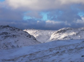 winter sun on the fells above langdale, cumbria