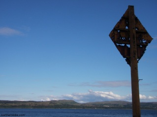old subsea telephone cable marker, Dunoon