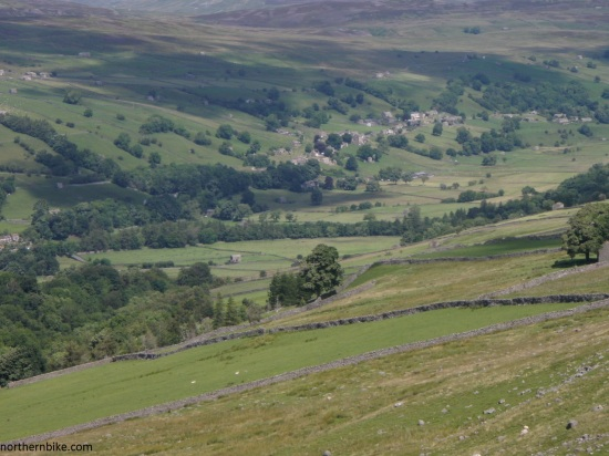 Low Row, Swaledale from the road over The Fleak